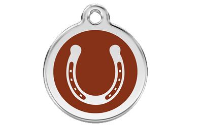 Red Dingo Polierte rostfreie Stahl- Hundemarke Hufeisen braun, inklusive Gravur