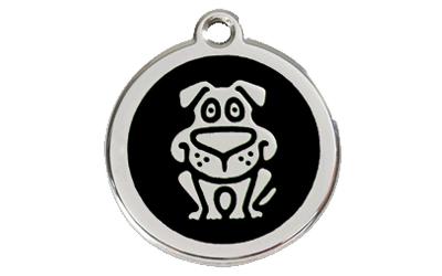 Red Dingo Polierte rostfreie Stahl- Hundemarke HUND schwarz, inklusive Gravur