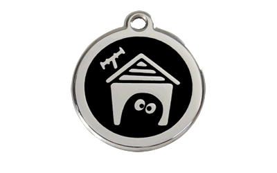 Red Dingo Polierte rostfreie Stahl- Hundemarke Hundehütte schwarz, inklusive Gravur