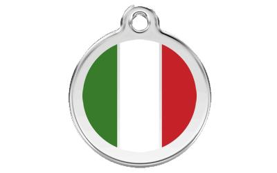 Red Dingo Polierte rostfreie Stahl- Hundemarke Italian Flagge weiss, inklusive Gravur