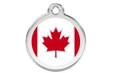 Red Dingo Polierte rostfreie Stahl- Hundemarke Kanadische Flagge rot, inklusive Gravur
