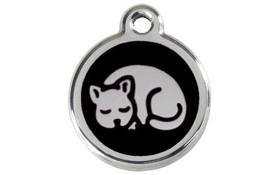 Red Dingo Polierte rostfreie Stahl- Hundemarke Kitten schwarz, inklusive Gravur
