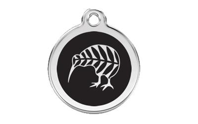Red Dingo Polierte rostfreie Stahl- Hundemarke Kiwi schwarz, inklusive Gravur