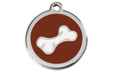 Red Dingo Polierte rostfreie Stahl- Hundemarke Knochen braun, inklusive Gravur