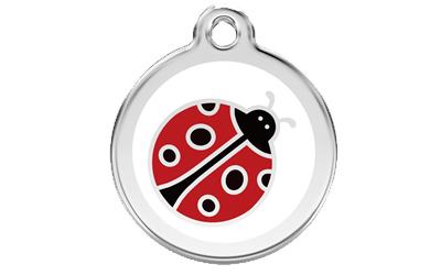 Red Dingo Polierte rostfreie Stahl- Hundemarke Ladybug, inklusive Gravur