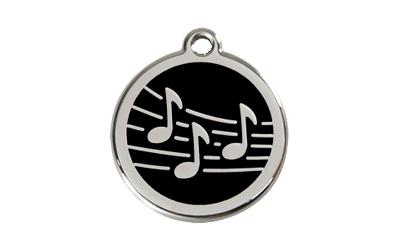 Red Dingo Polierte rostfreie Stahl- Hundemarke Musik schwarz, inklusive Gravur