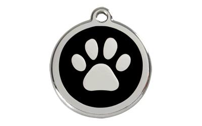 Red Dingo Polierte rostfreie Stahl- Hundemarke Paw Print schwarz, inklusive Gravur