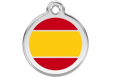 Red Dingo Polierte rostfreie Stahl- Hundemarke Spanish Flag, inklusive Gravur