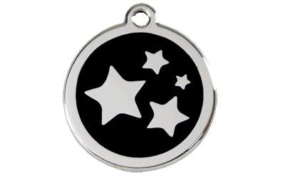 Red Dingo Polierte rostfreie Stahl- Hundemarke Stars schwarz, inklusive Gravur