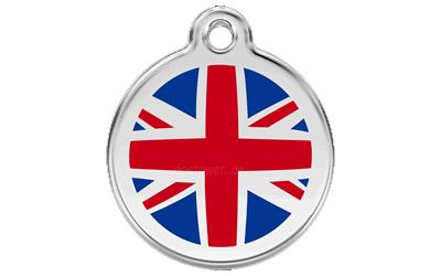 Red Dingo Polierte rostfreie Stahl- Hundemarke UK Flag inklusive Gravur