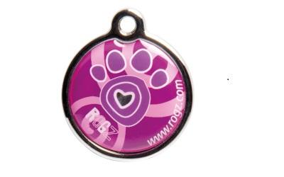 Rogz Instant ID Tagz Hundemarke, Pink Paw
