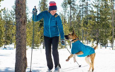 Ruffwear Fleecejacke in baja blue