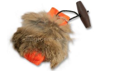 Schlüsselanhänger Dummy orange, mit Fell