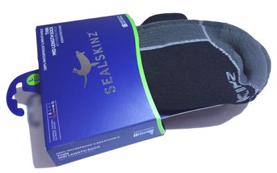 Sealskinz thin Mid Length Socke mit Merinowolle, schwarz/grau