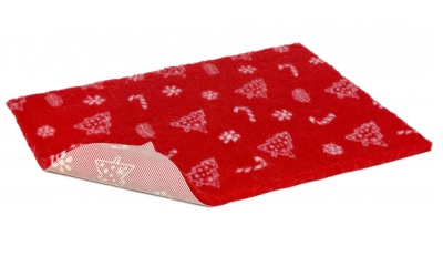 Vetbed® Rutschfest Xmas red with candy canes, Xmas trees and snowflakes