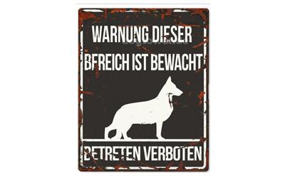 Warnschild, Deutscher Schäferhund Warnung dieser Bereich ist bewacht, No 2