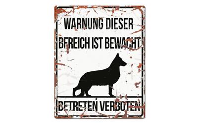 Warnschild, Deutscher Schäferhund Warnung dieser Bereich ist bewacht, No. 1