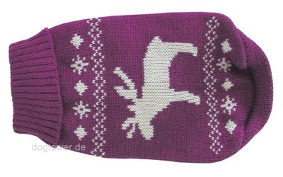 Wolters Strickpullover Elch pflaume/weiss