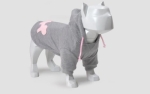 Bull Dogs Cotton Hoodie, Grey/Pink
