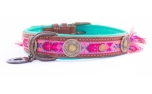 DWAM Dog with a mission Leder Hundehalsband Boho Rosa