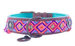 DWAM Dog with a mission Leder Hundehalsband Gypsy Cherry Blossom