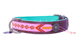 DWAM Dog with a mission Leder Hundehalsband Sweet Mae, rosa/orange/rot