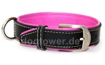 Wolters Cat and Dog Lederhalsband Terranova, schwarz/himbeer