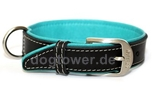 Wolters Cat and Dog Lederhalsband Terranova, schwarz/petrol