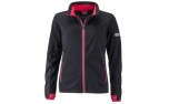 James & Nicholson Damen Softshell Sportjacke, black/light-red