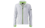James & Nicholson Damen Softshell Sportjacke, white/bright-green