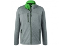 James & Nicholson Herren Melange Softshelljacke, dark-melange/green