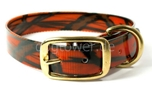 Mystique Halsband Biothane Deluxe (Messing), camo-orange