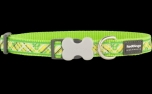 Red Dingo Nylon Hundehalsband, Flanno Lime Green